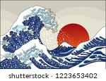 an ancient great japanese wave... | Shutterstock .eps vector #1223653402