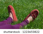 pink moccasins in the field  | Shutterstock . vector #1223653822