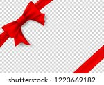 red ribbon with bow for gift... | Shutterstock .eps vector #1223669182