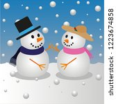 snowman and snowgirl | Shutterstock .eps vector #1223674858