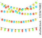 christmas lights isolated on... | Shutterstock .eps vector #1223674882