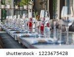 restaurant serving  glass wine...   Shutterstock . vector #1223675428