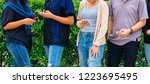 young people in casual clothes... | Shutterstock . vector #1223695495