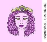doodle girls face. womens... | Shutterstock .eps vector #1223702302