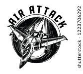 air attack black n white... | Shutterstock .eps vector #1223706292