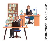 couple working in the office... | Shutterstock .eps vector #1223712835