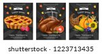 happy thanksgiving turkey  pie... | Shutterstock .eps vector #1223713435