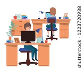 couple working in the office...   Shutterstock .eps vector #1223720938