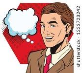 pop art businessman cartoon... | Shutterstock .eps vector #1223723242