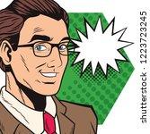 pop art businessman cartoon... | Shutterstock .eps vector #1223723245
