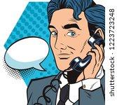 pop art businessman cartoon... | Shutterstock .eps vector #1223723248