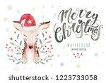 set of christmas woodland cute... | Shutterstock . vector #1223733058