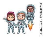 happy astronaut kids | Shutterstock .eps vector #1223734258
