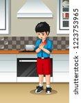 a vector illustration of boy... | Shutterstock .eps vector #1223753965