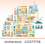 vector city map with building. | Shutterstock .eps vector #122375728