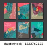 collection of six christmas... | Shutterstock .eps vector #1223762122