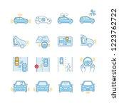 autonomous car color icons set. ... | Shutterstock .eps vector #1223762722