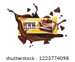 chocolate with almond seeds and ... | Shutterstock .eps vector #1223774098