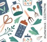 magic plants seamless pattern....   Shutterstock .eps vector #1223794798