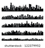 vector black city icons set on...