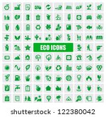vector green eco icons set on...