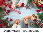 merry christmas and happy... | Shutterstock . vector #1223829802