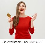 portrait of smiling woman... | Shutterstock . vector #1223831332