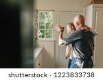 happy elderly couple dancing... | Shutterstock . vector #1223833738