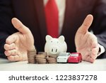 business man in suit open hand... | Shutterstock . vector #1223837278