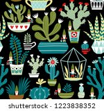 hand drawn seamless vector... | Shutterstock .eps vector #1223838352