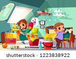 brother and sister cleaning in... | Shutterstock .eps vector #1223838922