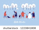 image of winter walk of parents ... | Shutterstock .eps vector #1223841808
