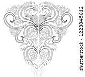 doodle floral pattern in black... | Shutterstock .eps vector #1223845612