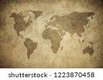 grunge map of the world | Shutterstock . vector #1223870458