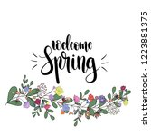 welcome spring  hand drawn... | Shutterstock .eps vector #1223881375