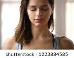 portrait of attractive woman... | Shutterstock . vector #1223884585