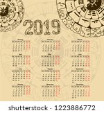 calendar 2019 with maya... | Shutterstock .eps vector #1223886772
