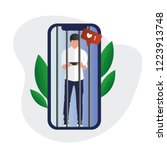 mobile phone prisoner. addicted ... | Shutterstock .eps vector #1223913748