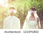 a young wedding couple couple... | Shutterstock . vector #122391802