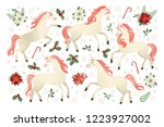 christmas card with unicorn ... | Shutterstock .eps vector #1223927002