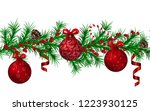 christmas fir garland seamless... | Shutterstock .eps vector #1223930125