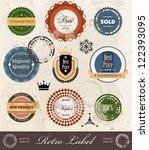 vector set premium retro label | Shutterstock .eps vector #122393095
