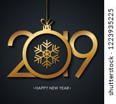 2019 happy new year greeting... | Shutterstock .eps vector #1223935225