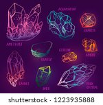 set of hand drawn semiprecious... | Shutterstock .eps vector #1223935888