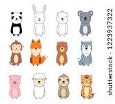 cute animal cartoon character... | Shutterstock .eps vector #1223937322