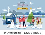 christmas card greeting. a... | Shutterstock .eps vector #1223948038