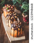 decorated panettone with... | Shutterstock . vector #1223948668