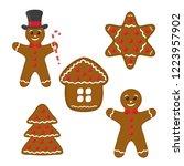gingerbread set   cookie in top ... | Shutterstock . vector #1223957902