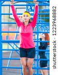 sport ideas. two caucasian... | Shutterstock . vector #1223968882