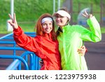 two positive and smiling... | Shutterstock . vector #1223975938